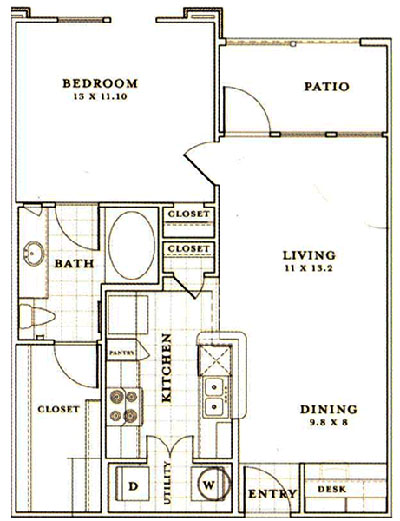 A2 - One Bedroom / One Bath - 729 Sq. Ft.*