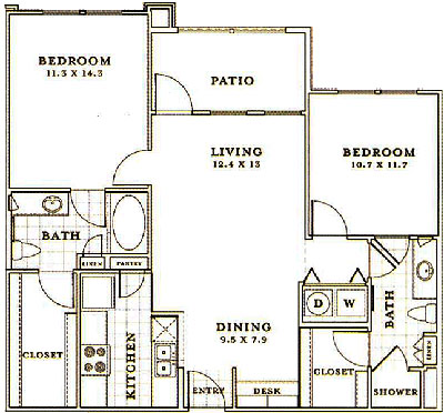 B1 - Two Bedroom / Two Bath - 990 Sq. Ft.*